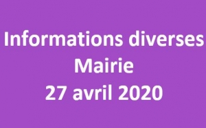 Info 27 avril 2020